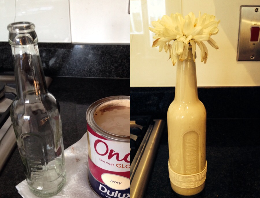 How to make a DIY vase from an empty beer bottle!