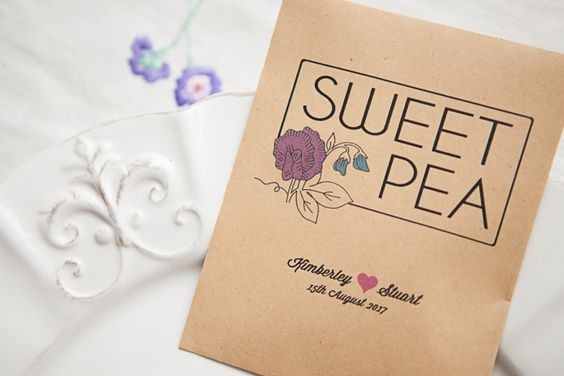 mini sweet pea seeds for your guests to grow from home