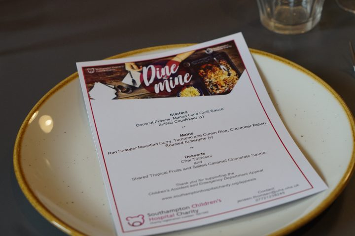 DINE AT MINE WITH SOUTHAMPTON CHILDREN'S HOSPITAL CHARITY